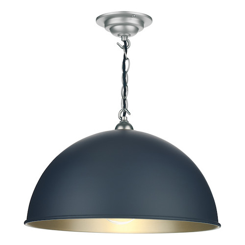Ealing Brushed Chrome with Metal Shade Small Single Pendant Light