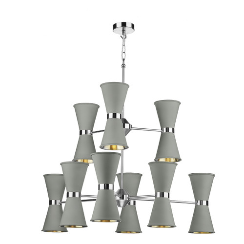 Hyde 18 Light Polished Chrome with Metal Shades Pendant Light