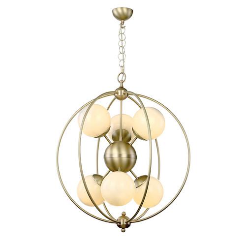 Liberty 6 Light Butter Brass  with Opal Glass Pendant Light
