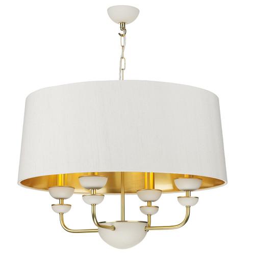 Lunar 4 Light Brass and Ivory with Silk Shade Pendant Light