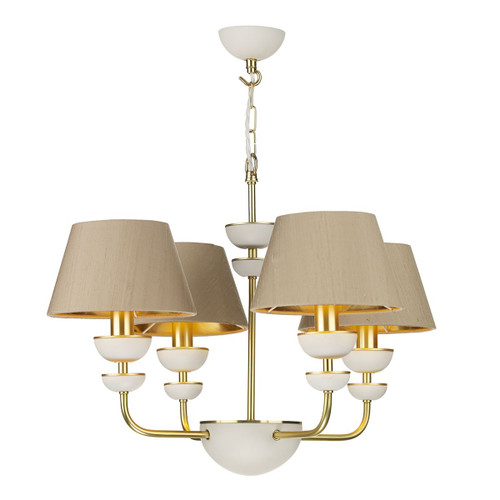 Lunar 4 Light Brass and Ivory with Silk Shades Pendant Light