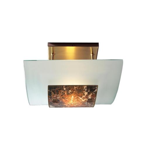 David Hunt Savoy Antique Brass with Dark Marble Glass Semi Flush Ceiling Light