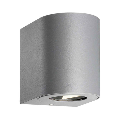 Canto 2 LED IP44 Up/Down Grey with Clear Glass Wall Light