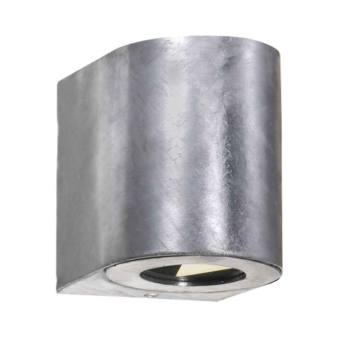 Canto 2 LED IP44 Up/Down Galvanized with Clear Glass Wall Light