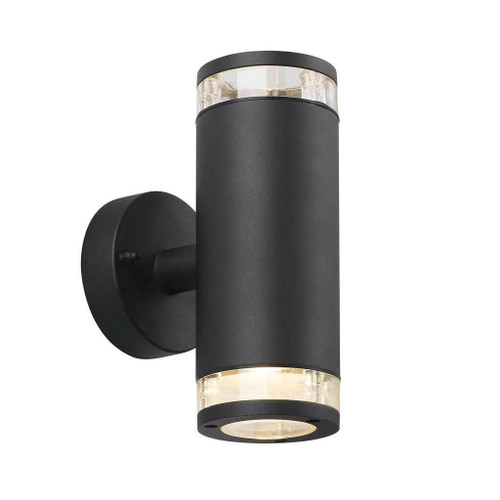 Nordlux Birk Double Black With Clear Glass IP44 Wall Light
