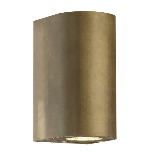 Nordlux Canto Maxi 2 LED Brass With Clear Glass IP44 Up/Down Wall Light
