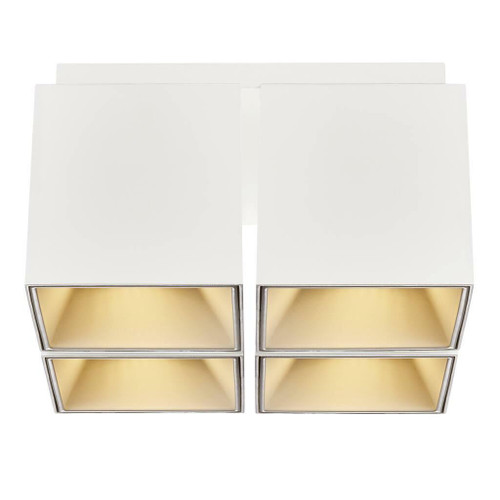 Nordlux Ethan White with Gold Reflector Four Way Surface Downlight