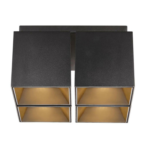 Nordlux Ethan Black with Gold Reflector Four Way Surface Downlight