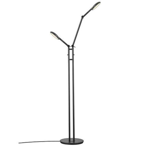 Nordlux Bend Black Adjustable Twin Headed Floor Lamp