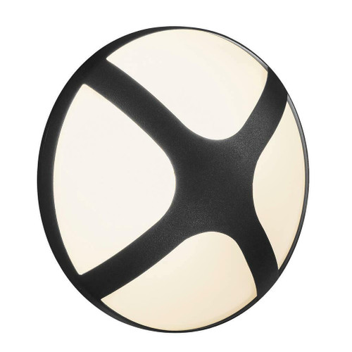 Nordlux Cross 20 Black With Opal Glass IP54 Wall Light