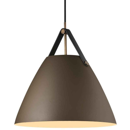 Strap 36 Beige with Black Leather Strap Detail Pendant Light