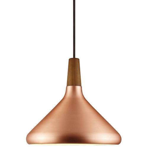 DFTP Nori 27 Copper With Wood Pendant Light