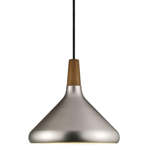 DFTP Nori 27 Brushed Steel With Wood Pendant Light