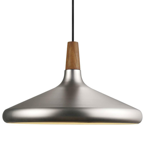 DFTP Nori 39 Brushed Steel With Wood Pendant Light