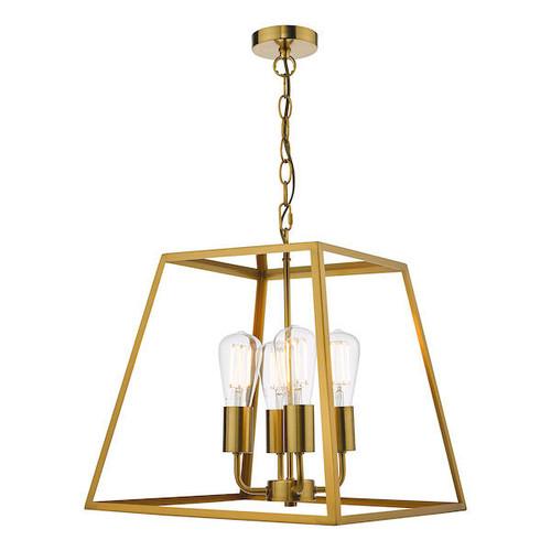 Dar Lighting Academy 4 Light Natural Brass Lantern