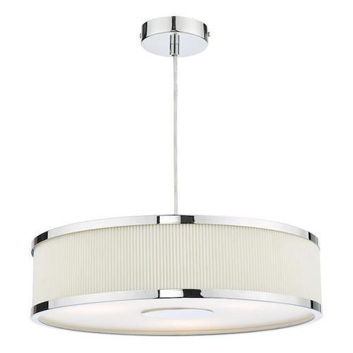 Dar Lighting Alvaro 3 Light Polished Chrome and Ivory Shaded Pendant Light