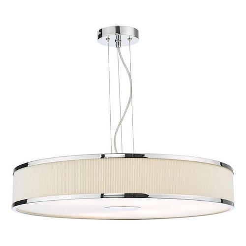 Dar Lighting Alvaro 6 Light Polished Chrome and Ivory Shaded Pendant Light