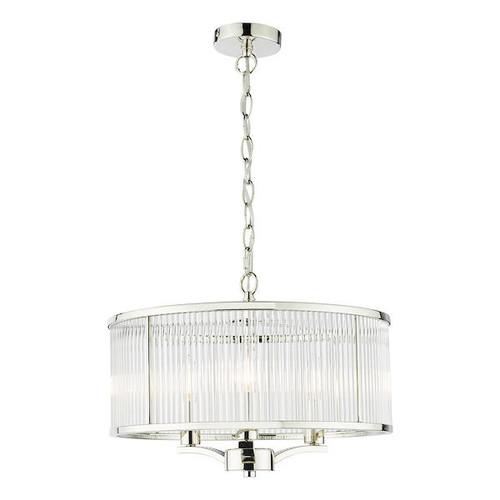 Dar Lighting Eveyln 3 Light Polished Nickel and Glass Feature Pendant Light