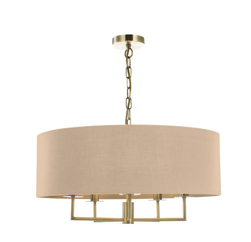 Dar Lighting Jamelia 5 Light Antique Brass and Taupe Shadelier