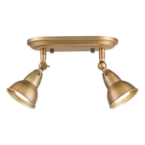 Dar Lighting Nathaniel 2 Light Aged Brass Plate Spotlight