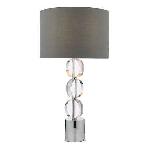 Dar Lighting Tuke Polished Chrome and Crystal with Shade Touch Table Lamp