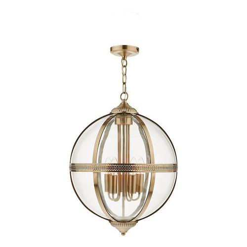 Dar Lighting Vanessa 5 Light Antiue Brass and Glass Pendant