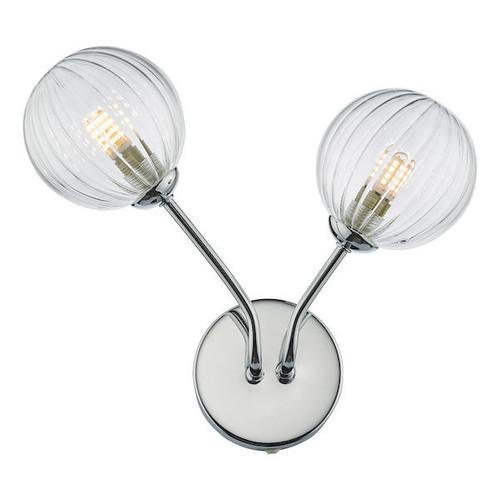 Dar Lighting Yiska 2 Light Polished Chrome and Ribbed Glass Wall Light