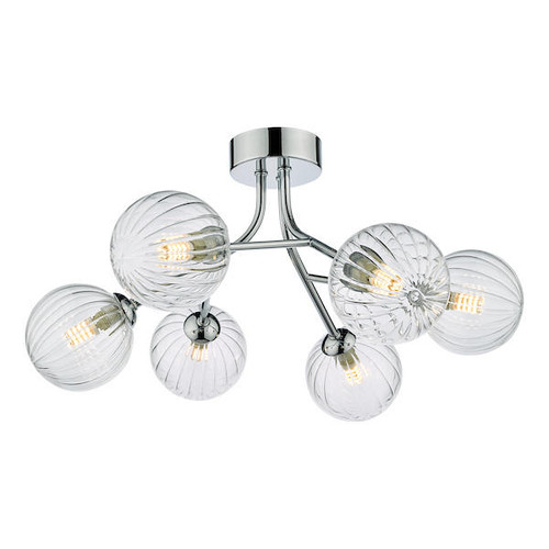 Dar Lighting Yiska 6 Light Polished Chrome and Ribbed Glass Semi Flush Ceiling Light