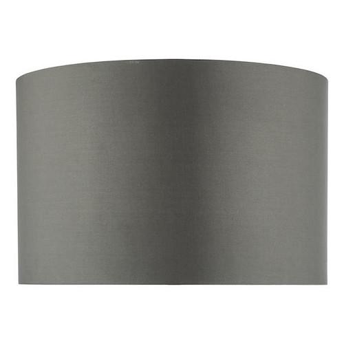 Dar Lighting Zeya 37cm Grey Faux Silk Drum Shade Only