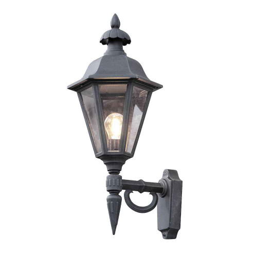 Pallas Up Matt Black with Clear Glass Outdoor IP23 Wall Light