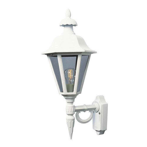 Pallas Up Matt White with Clear Glass Outdoor IP23 Wall Light