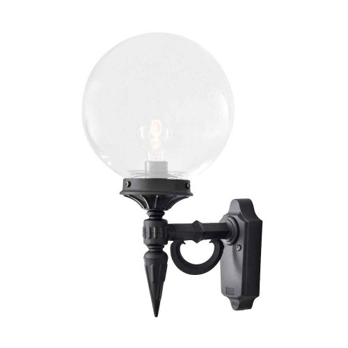 Orion Black with Clear Glass Dome Outdoor IP23 Wall Light