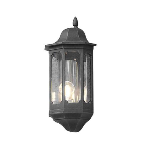 Pallas Matt Black Flush Half Lantern Wall Light