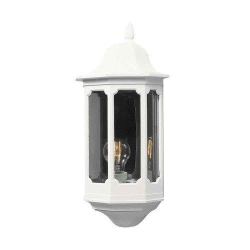Pallas Matt White Flush Half Lantern Wall Light