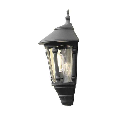 Virgo Matt Black Aluminium Flush Half Lantern Wall Light