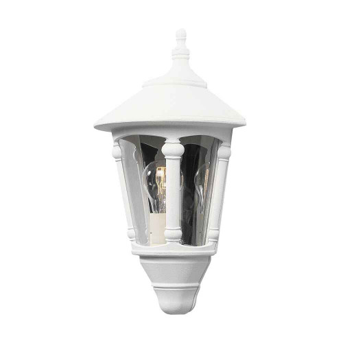 Virgo Matt White Aluminium Flush Half Lantern Wall Light