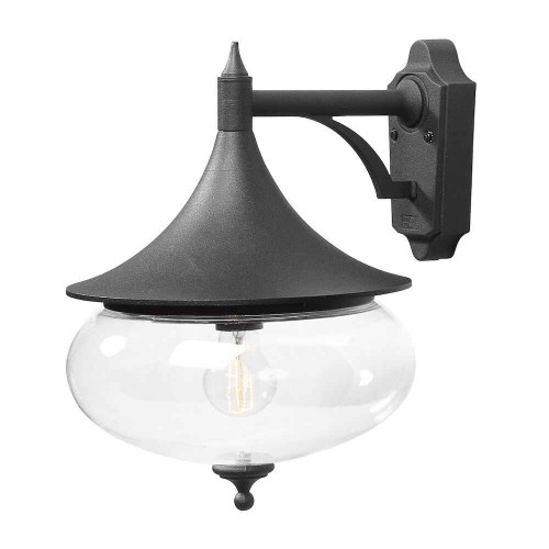 Libra Matt Black Down Aluminium with Acrylic Globe Wall Light