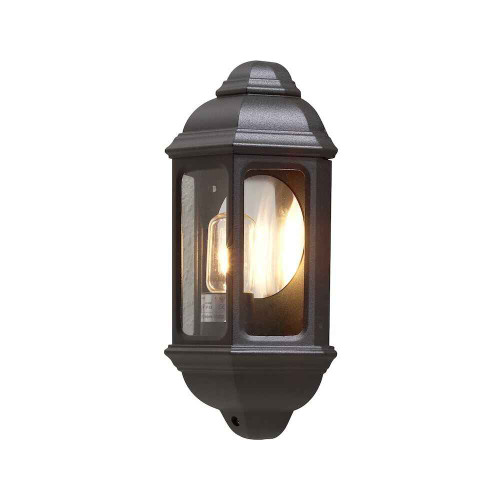 Cagliari Matt Black Aluminium Flush Half Lantern Wall Light