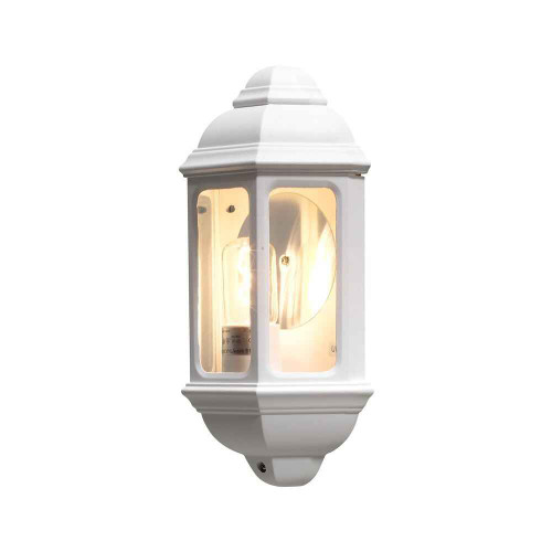 Cagliari White Aluminium Flush Half Lantern Wall Light