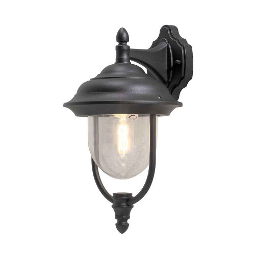 Parma Down Matt Black Aluminium with Clear Glass Wall Light