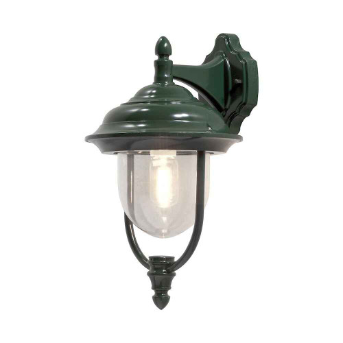 Parma Down Green Aluminium with Clear Glass Wall Light