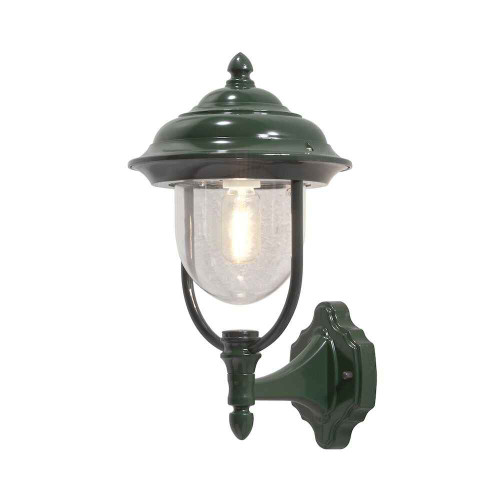 Parma Up Green Aluminium with Clear Glass Wall Light