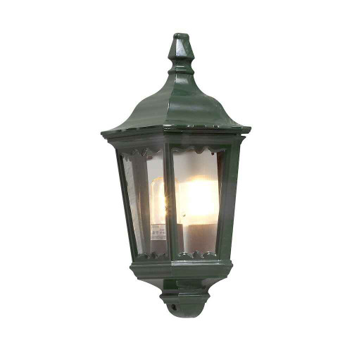 Firenze Green Aluminium Flush Half Lantern Wall Light