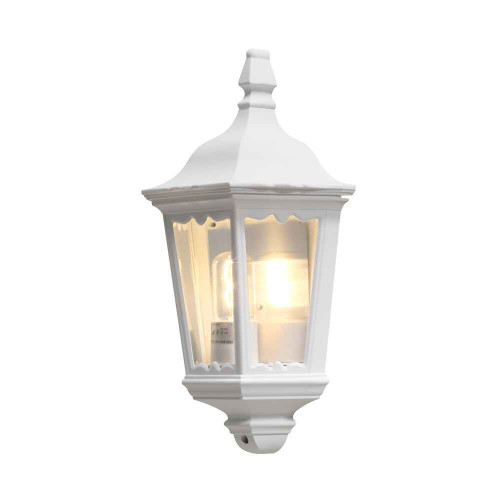 Firenze Matt White Aluminium Flush Half Lantern Wall Light