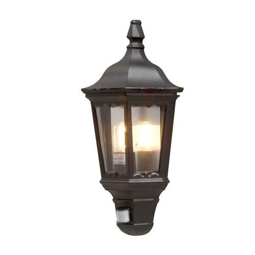 Firenze Black Sensor Aluminium Flush Half Lantern Wall Light