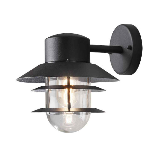 Modena Black Aluminium with Clear Glass IP44 Wall Light