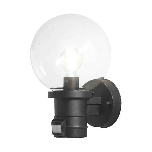 Nemi Up PIR Matt Black Plastic with Clear Glass Wall Light