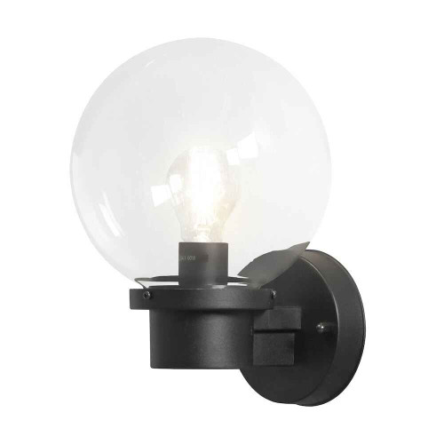 Nemi Up Matt Black Plastic with Clear Glass Wall Light