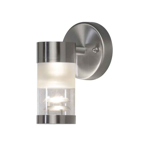 Bolzano Down Stainless Steel with Clear Glass Wall Light