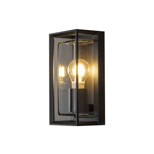Brindisi Black Aluminium Open Frame with Clear Glass Wall Light